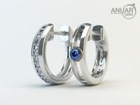 earrings diamonds white 3d model