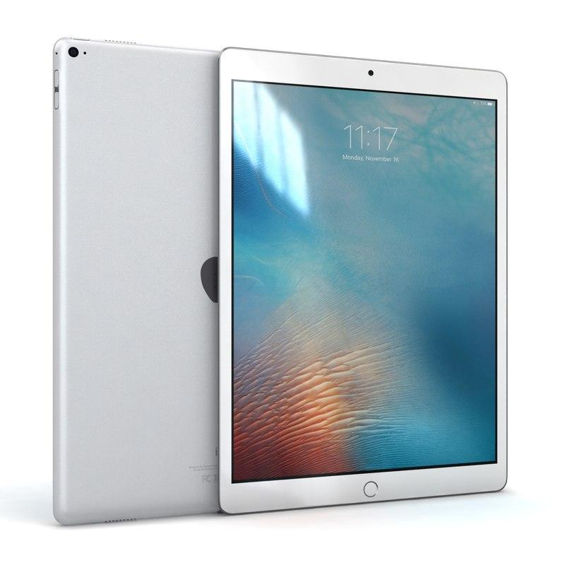 3d model of apple ipad pro silver