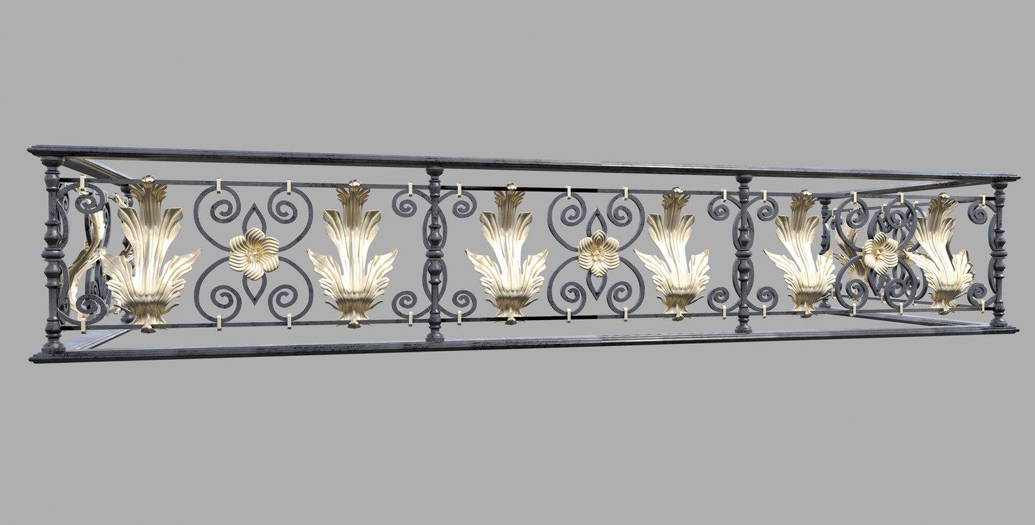 3d forged decorativ railing landscape model