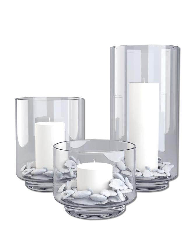 3d model glass candle holder set