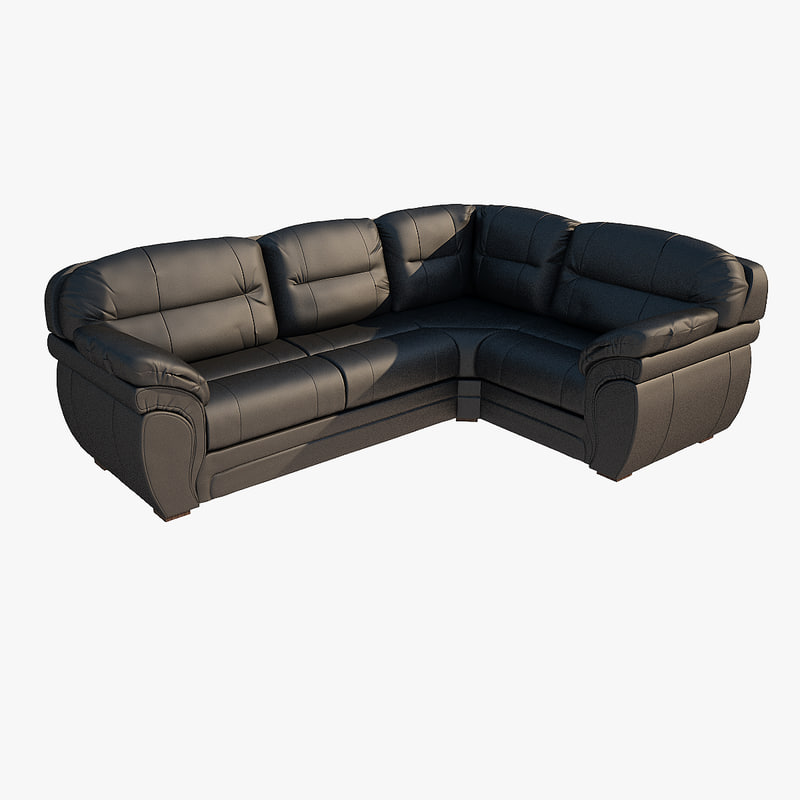 3d model leather black sofa corner