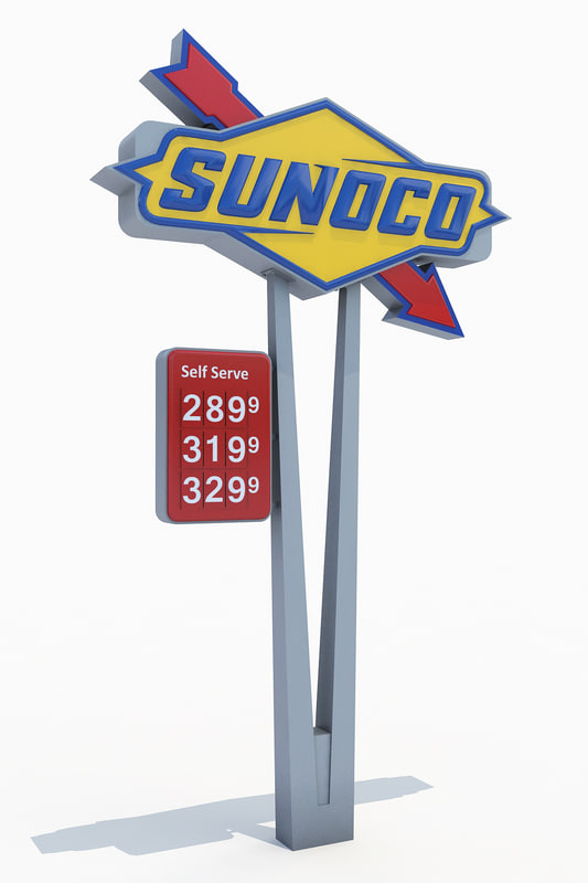 sunoco gas station totem 3d max