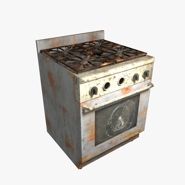 3d model rusted oven
