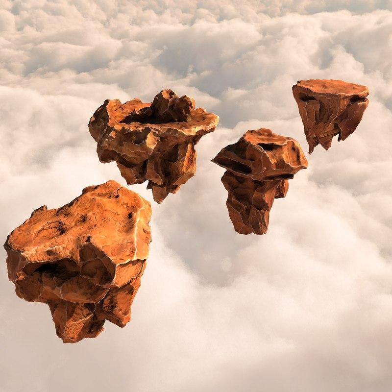 3d model pack flying rocks stones