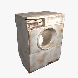 3d rusted washing machine
