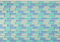 3d blue glass backsplash