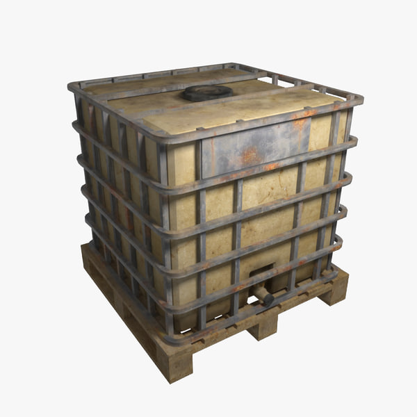 3d rusted water tank