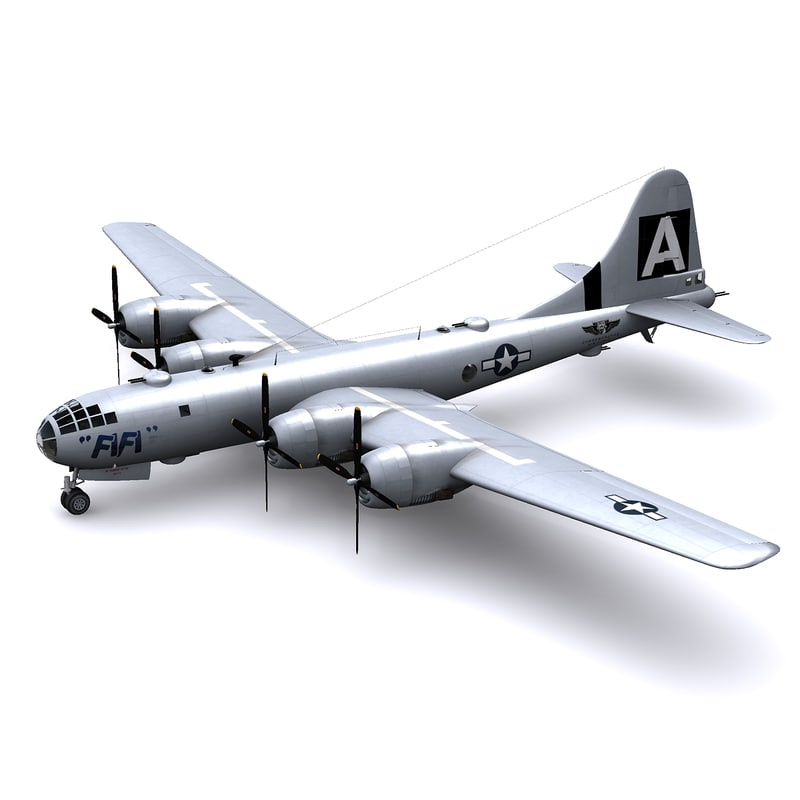 superfortress bomber fifi 3d model
