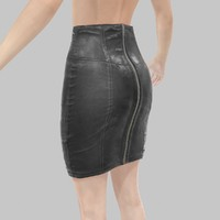 leather skirt pencil obj