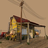 Old Gas Station Low Poly
