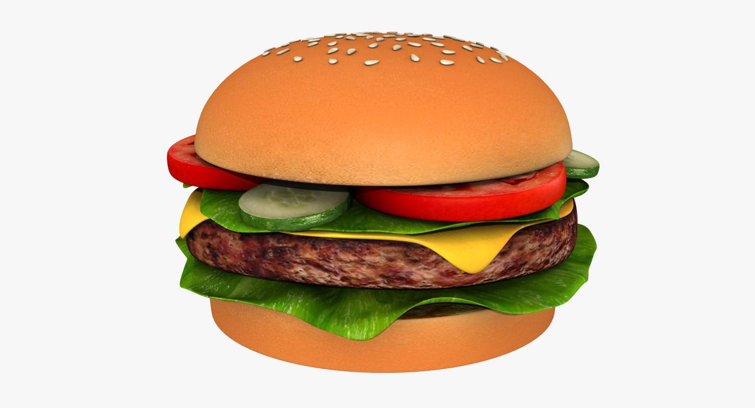 3d burger cheeseburger