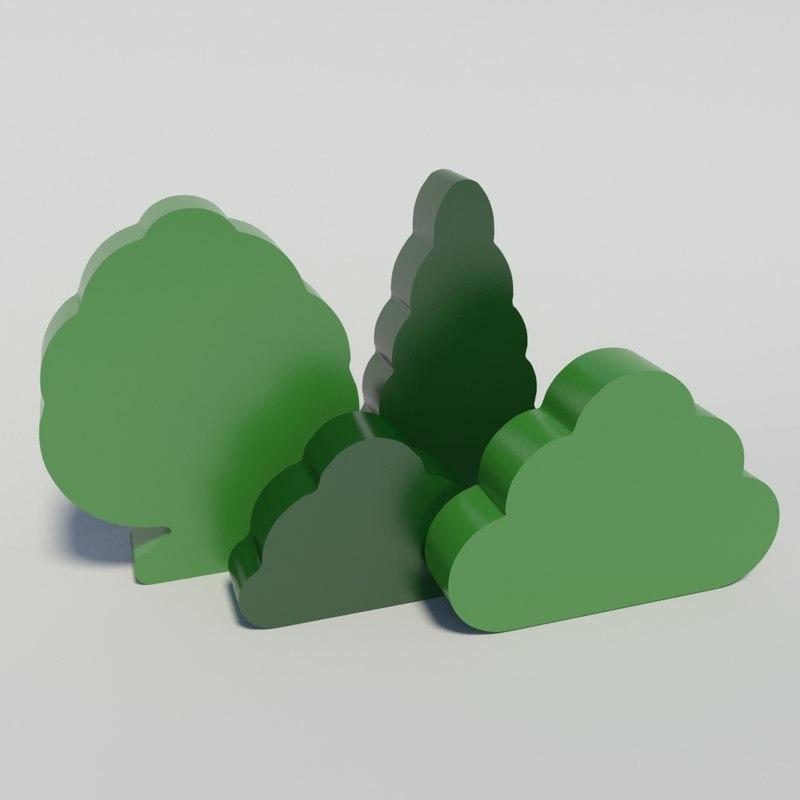 toy trees shrubs 3d x