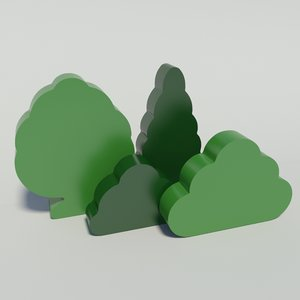 toy trees shrubs 3d x