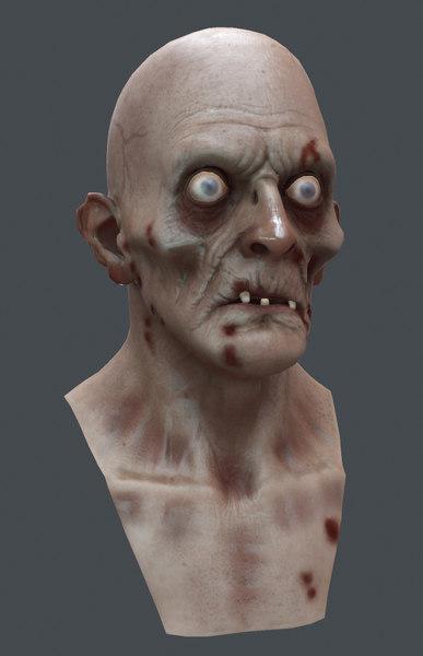 zombie head marmoset 3d model