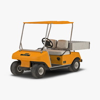 3d golf cart orange model