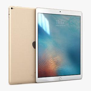 3d c4d apple ipad pro gold