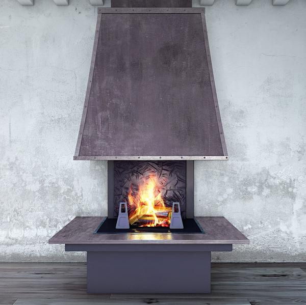 3d model fireplace polystal