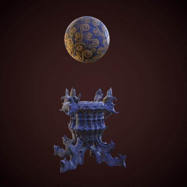 3d model of statue magic ball