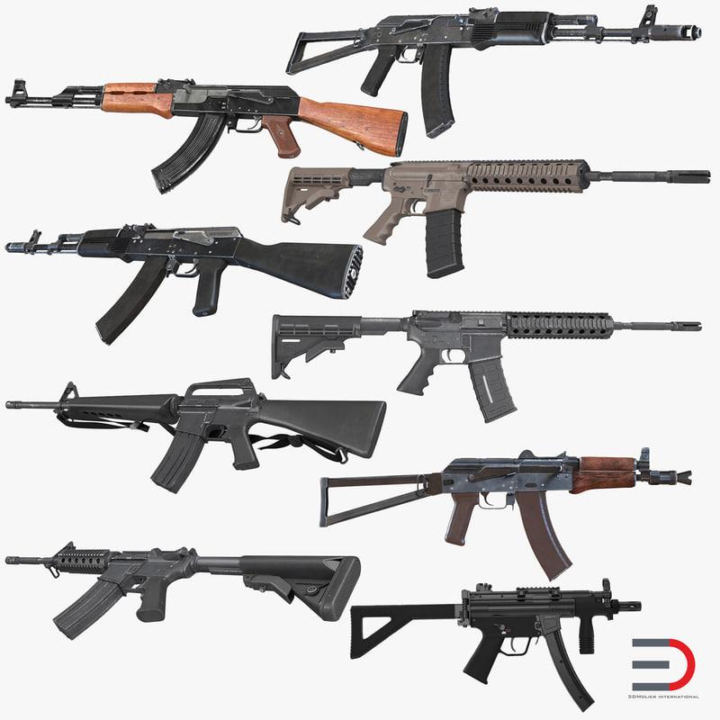 assault rifles 3d max