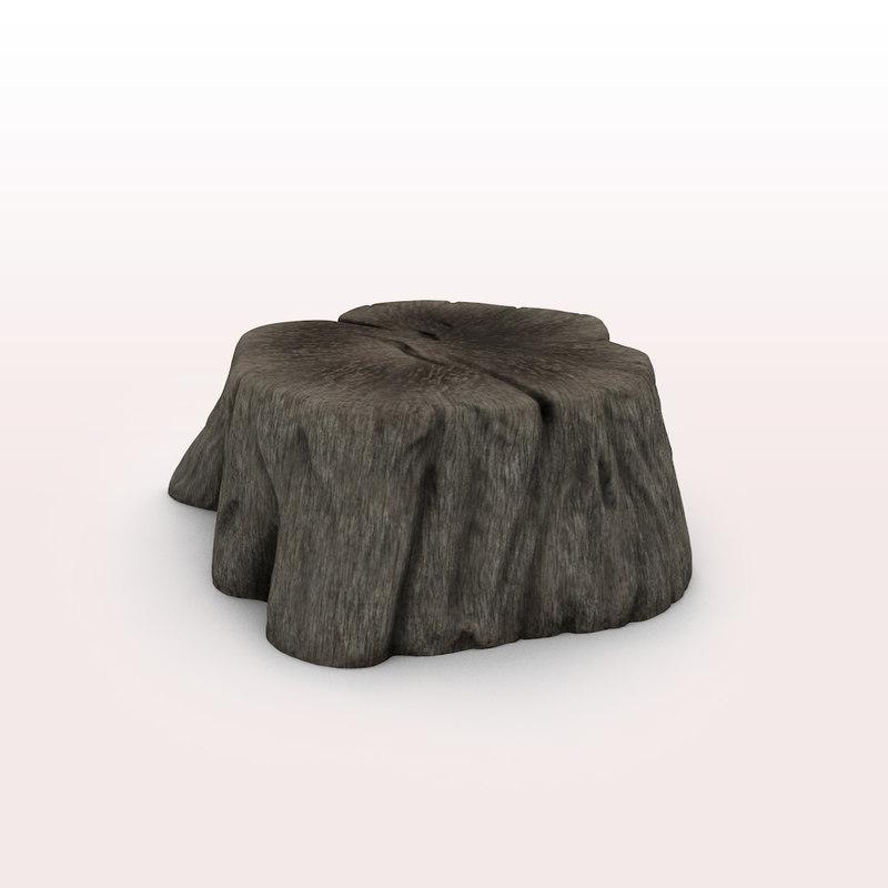 3d model of old tree stump