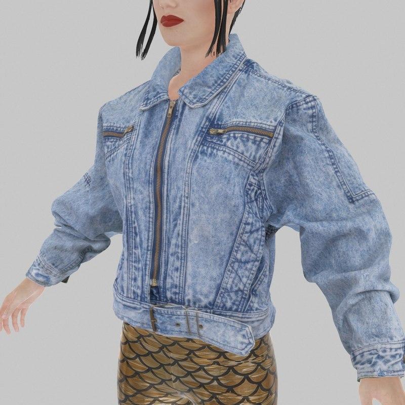 jeans jacket 3d obj