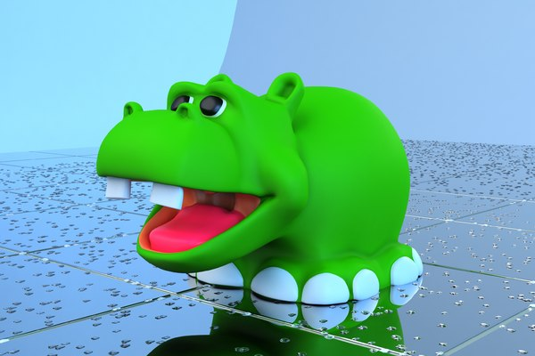 3d model hippo toy bath