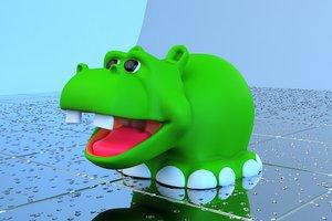 3d model hippo toy bath