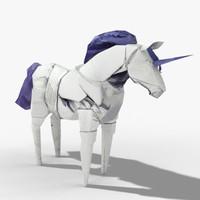 paper unicorn 3d model