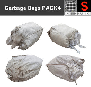 large bags garbages pack4 3d 3ds