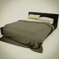 modern messy bed 3d model