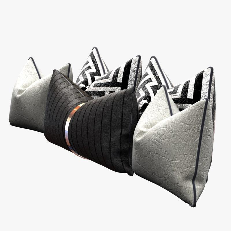3ds pillows set black white