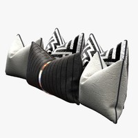 3ds pillows set black white