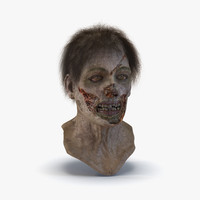 Zombie Head 3D Model with Hair