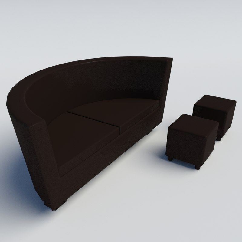 curved sofa 3d 3ds
