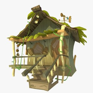 jungle hut 3d model