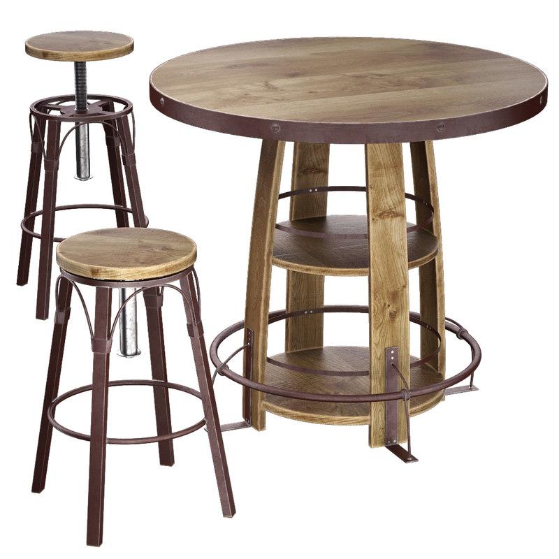 3d model bayshore pub table set