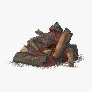 wood coals 01 3d model