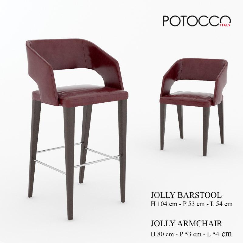 jolly barstool armchair 3ds