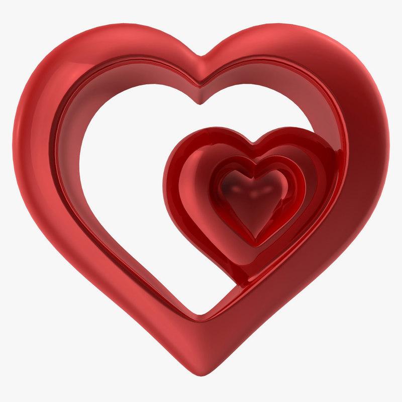 heart shiny red v4 3d model