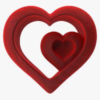 3d heart valvet red v4 model