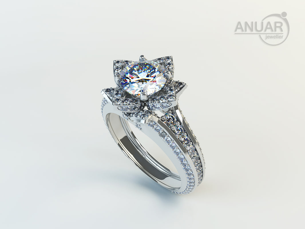 engagement ring diamonds 3d model