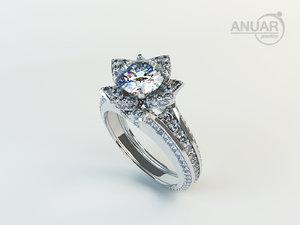 engagement ring diamonds 3d model