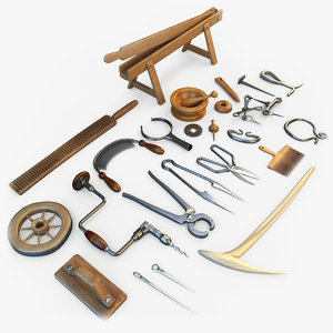 medieval tools 3d model
