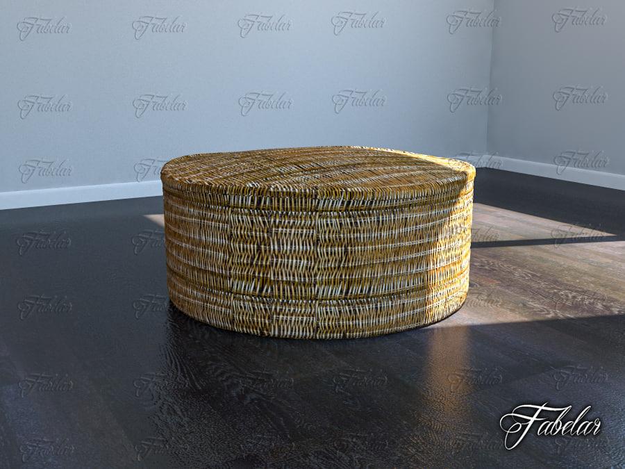 rattan pouf 3d max