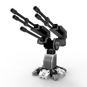 3d model sci-fi flak cannon