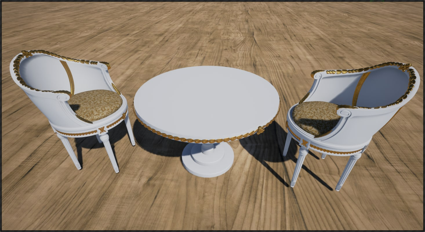 3d chairs desk 3 model