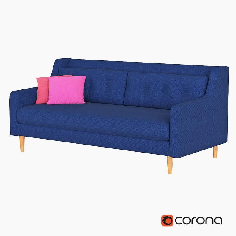 3d model sofa west elm