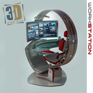 3d model work workstation