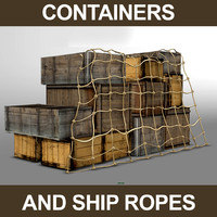 containers wood ropes 3d max