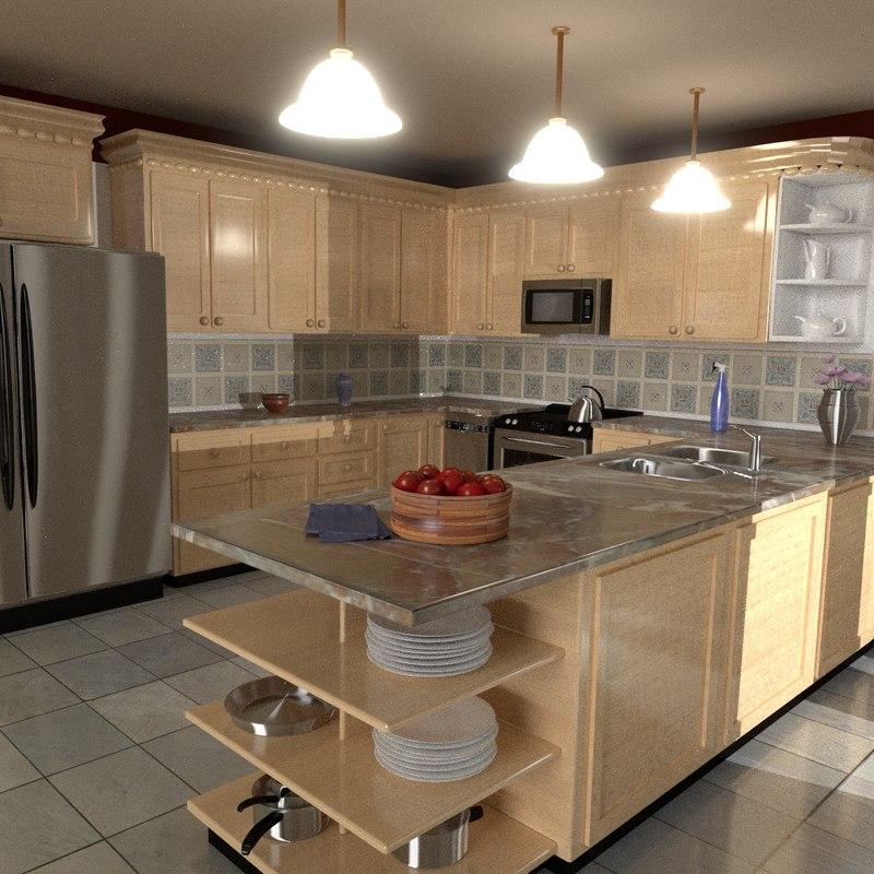 kitchen refrigerator stove 3d 3ds
